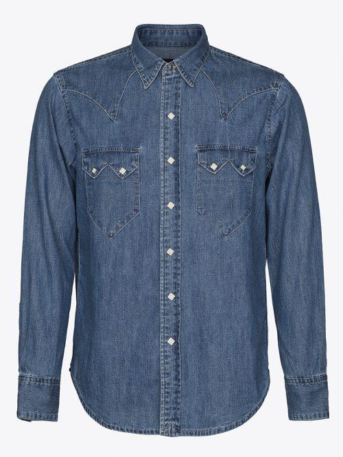 Western denim shirt with sawtooth pockets in vintage blue