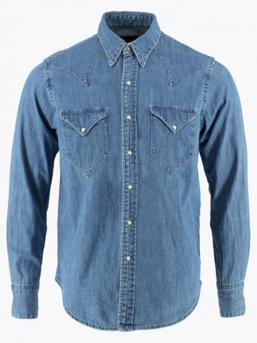 Western shirt Single point pockets denim shirt Cowboy shirt