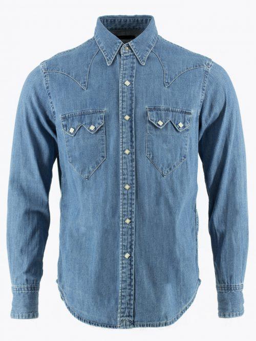 Western shirt sawtooth pockets denim shirt Cowboy shirt