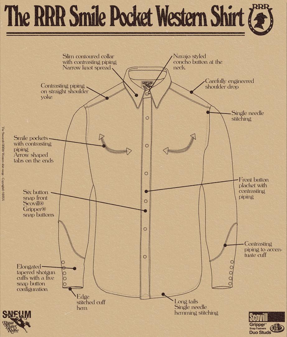 Smile pocket western shirt details