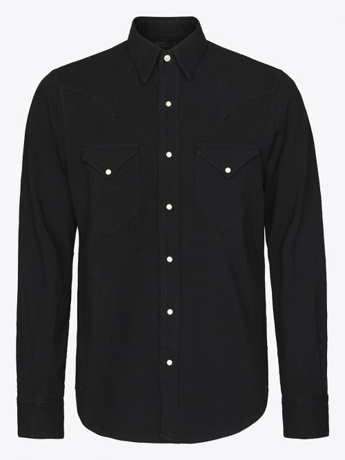 Classic western shirt in black pique with white Scovill snap buttons