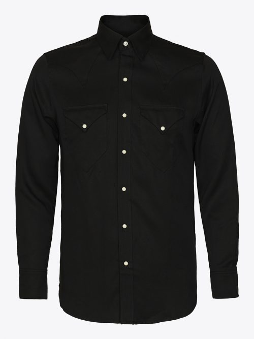 Classic western shirt in black tencel with white Scovill snap buttons