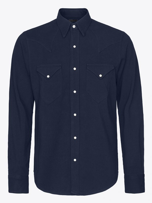 Classic western shirt in navy pique with white Scovill snap buttons