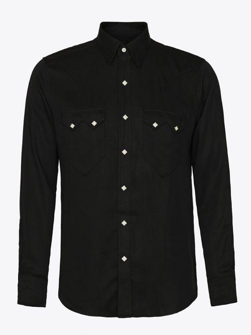 Western sawtooth shirt with diamond snaps in black Tencel
