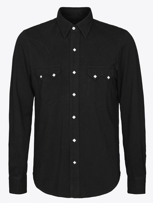 Western sawtooth shirt with Scovill diamond snaps in black pique