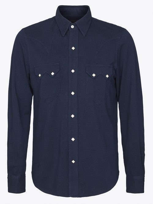 Western sawtooth shirt with Scovill diamond snaps in navy pique