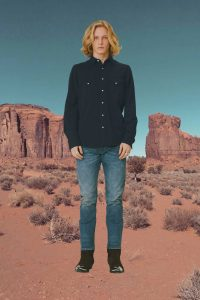 Western shirt in navy pique Single point pocket