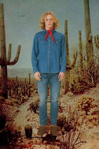 Denim shirt with native styled concho