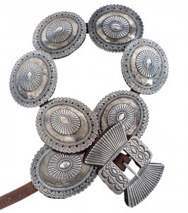 Navajo Silver Second Phase Concho Belt with Seven Conchas, c.1900