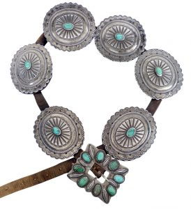 Navajo Silver Second Phase Concho Belt with Six Conchas and Bezel Tooth Set Turquoise Buckle, c.1900