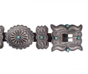 Navajo Silver Third Phase Concho Belt with Four Turquoise Cabochons, c.1940