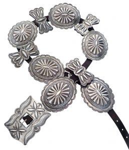 Navajo Third Phase Silver Concho Belt c.1930