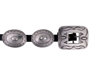 Navajo stamped silver second phase Concho belt c. 1910