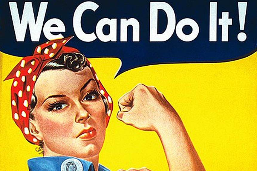 Rosie the Riveter and her iconic bandana headwear