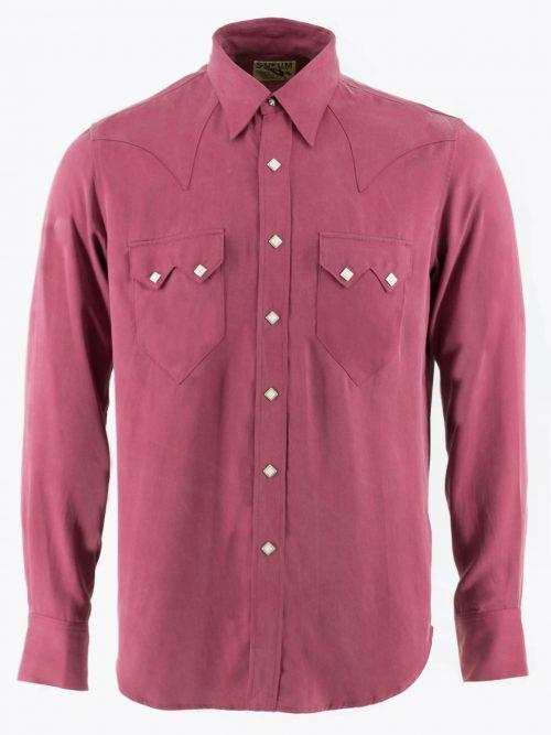 Sawtooth Western shirt in burgundy Tencel