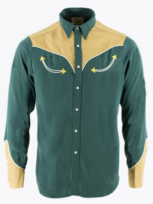 Two-tone smile pocket western shirt in green and brown Tencel