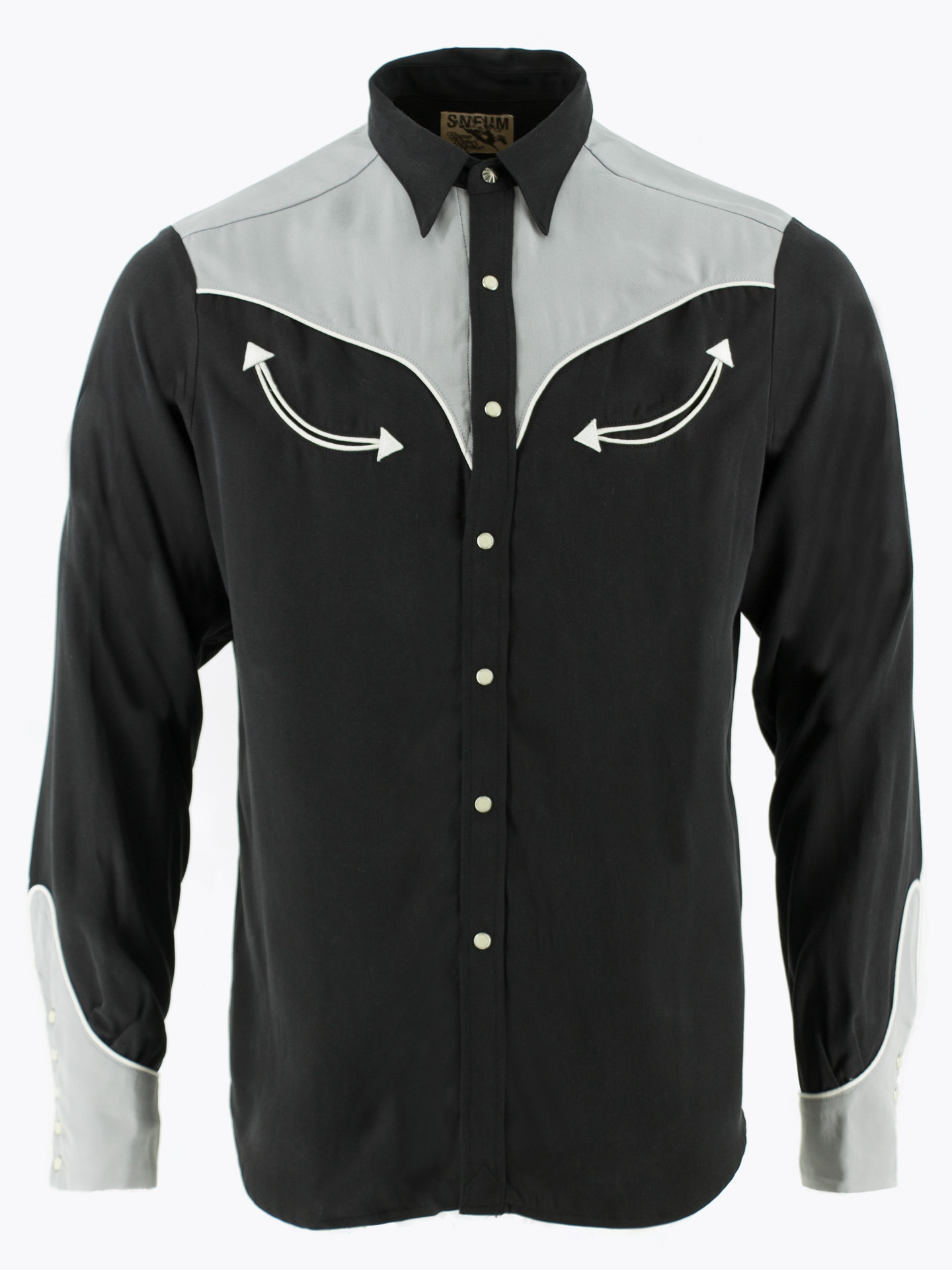 Two-tone smile pocket western shirt in black and grey