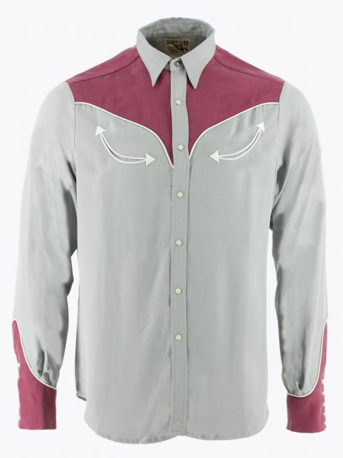 Two-tone smile pocket western shirt in grey and burgundy