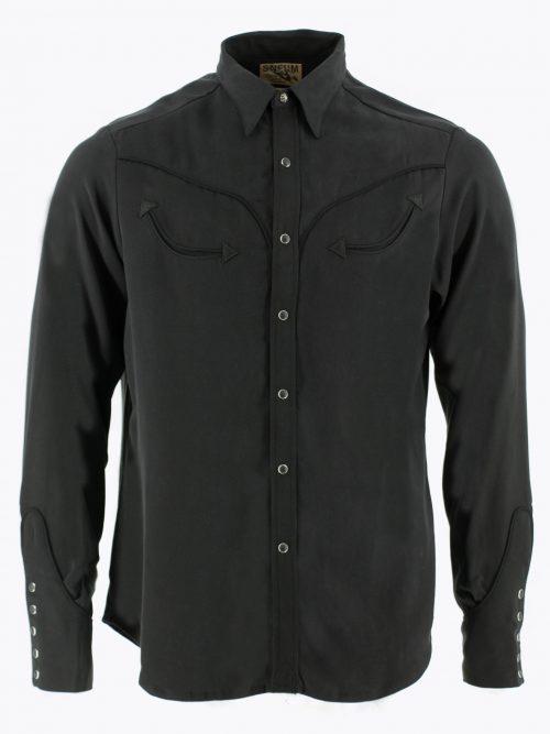 Two-tone smile pocket western shirt in black on black