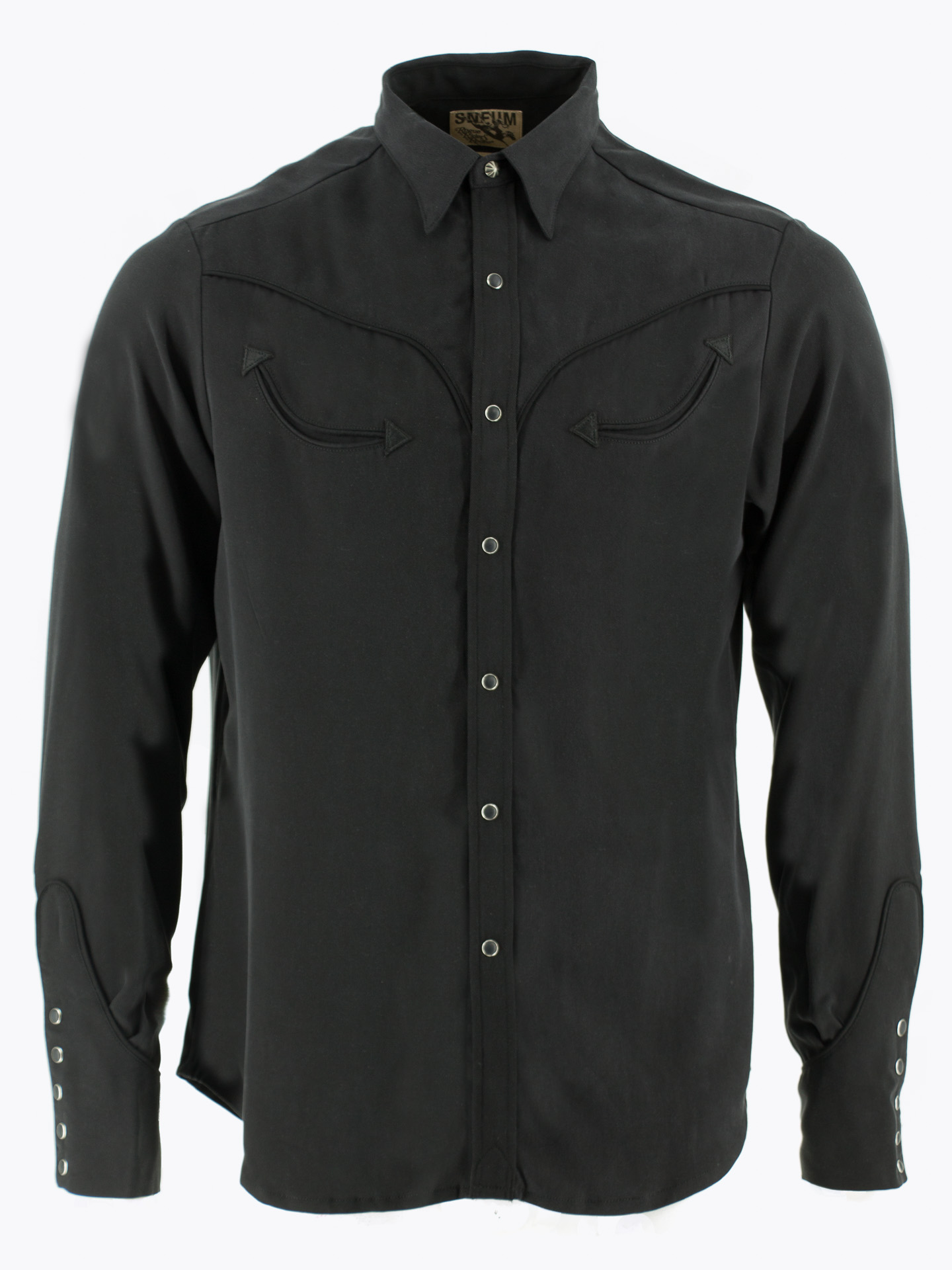 Two-tone smile pocket western shirt in black on black