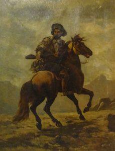 South American Gaucho on Horseback in Mountainous Landscape, Nicolas Sicard