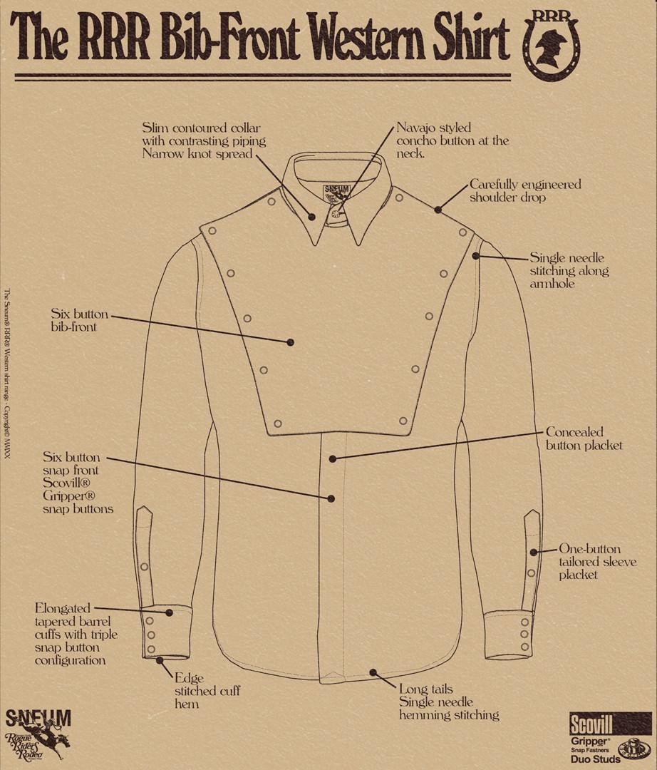 Bib fron western shirt