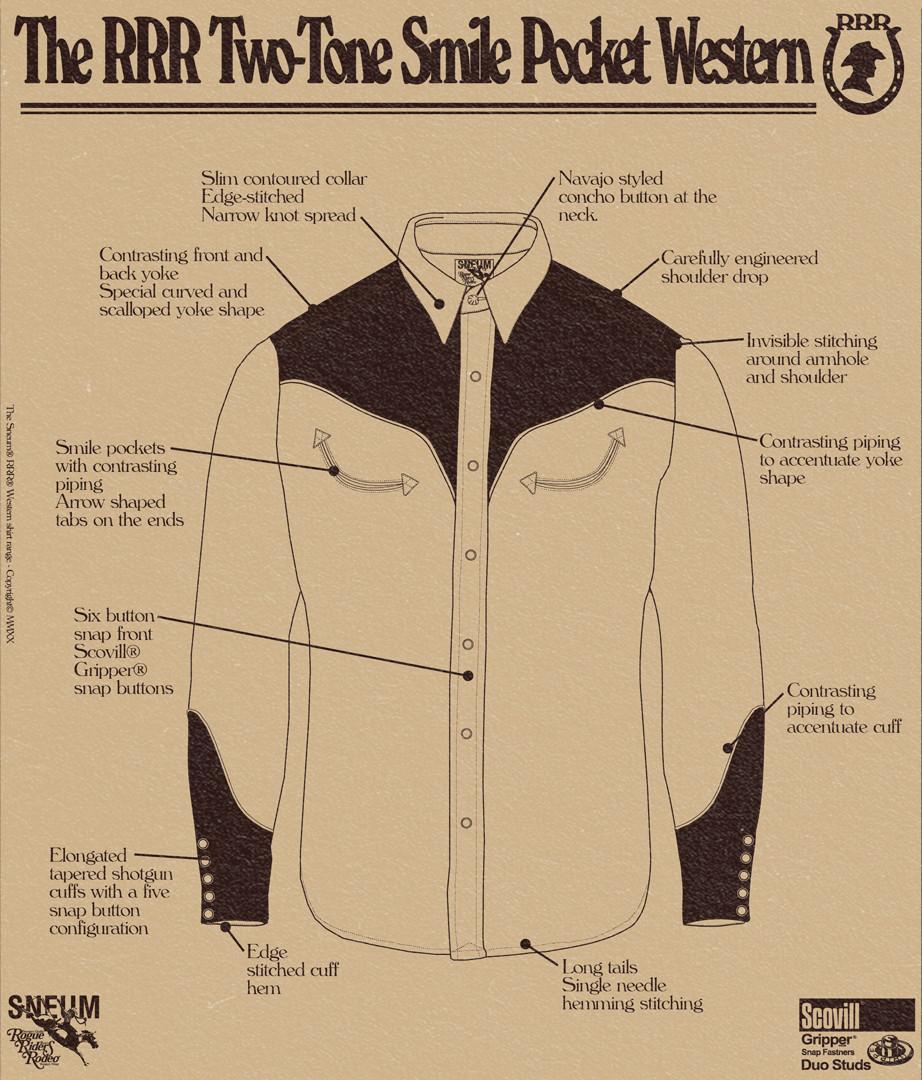 Two tone smile pocket western shirt