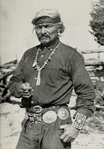 White hair Navajo with concho belt