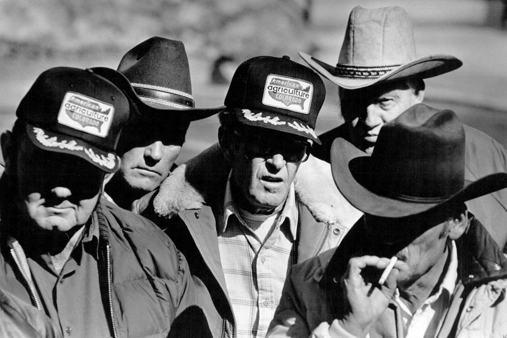 Farmers with trucker hats, 1987